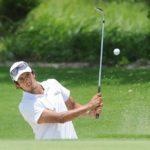 Punta Cana, República Dominicana (Mayo 31, 2013) – El argentino Maxi Godoy saca del bunker del hoyo 7, en donde embocó este tiro para hacer águila y consolidarse en el liderato al cabo de tres rondas del Dominican Republic Open 2013. El torneo es el último de la primera mitad de la temporada del NEC Series PGA TOUR Latinoamérica y concluirá este sábado en el Hard Rock Golf Club at Cana Bay. Crédito: Enrique Berardi/PGA TOUR